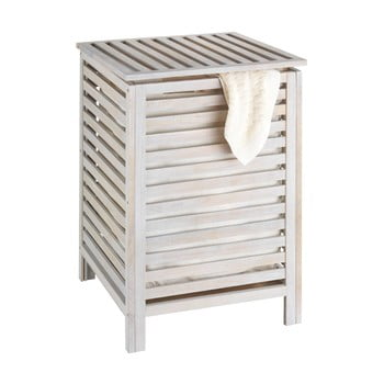 Coș din lemn pentru baie Wenko Laundry Bin Norway, alb de la Wenko