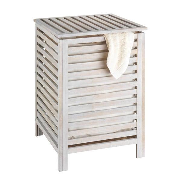 Coș din lemn pentru baie Wenko Laundry Bin Norway, alb