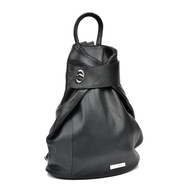 Černý kožený batoh Anna Luchini Makna