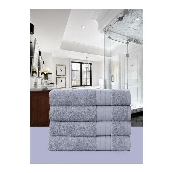 Sada 4 světle šedých bavlněných ručníků Uni, 50 x 100 cm