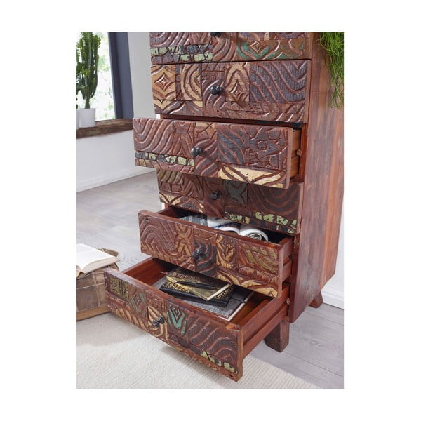Komoda se 6 šuplíky z recyklovaného dřeva Skyport CARVED
