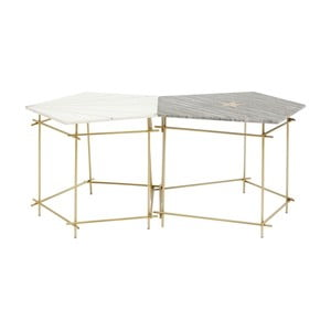 Sada 2 menších odkládacích stolků s mramorovu deskou Kare Design Pentagon