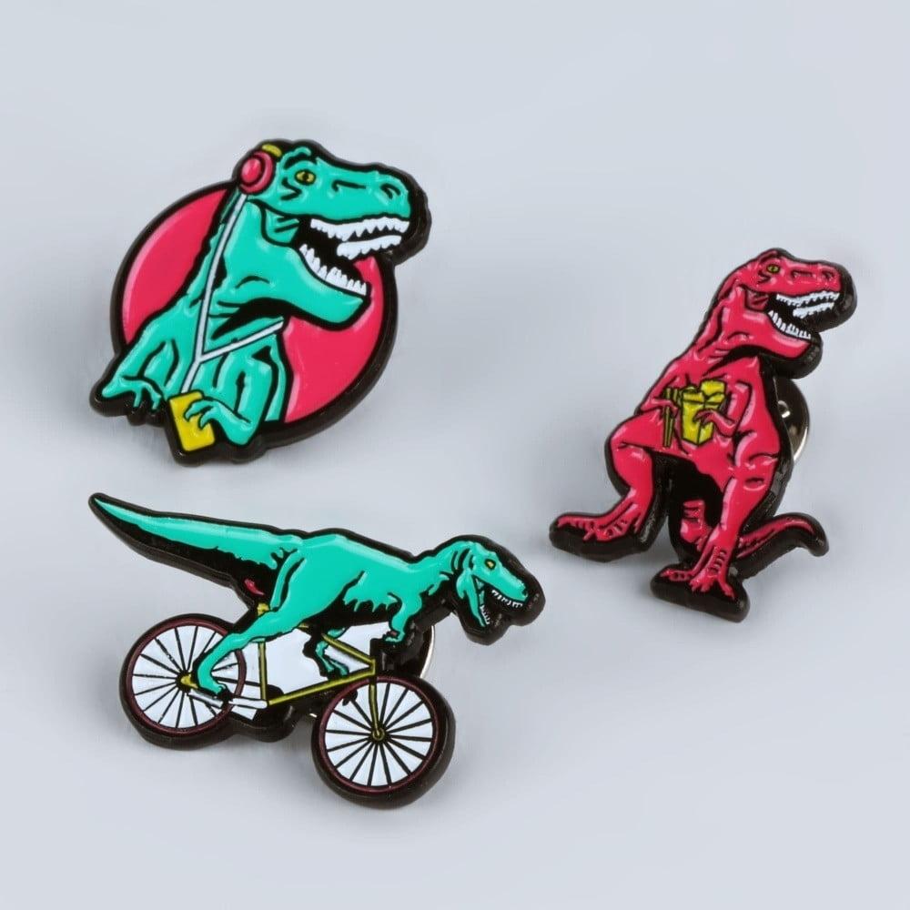 Sada 3 kovových odznaků Just Mustard T-Rex