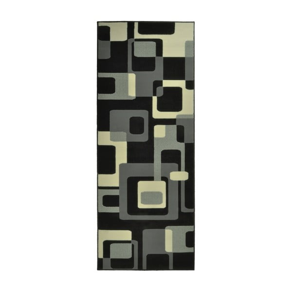 Černý koberec Hanse Home Hamla Retro, 80x200cm