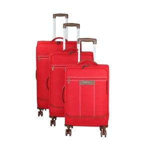 Sada 3 červených cestovník kufrů na kolečkách Murano Steward