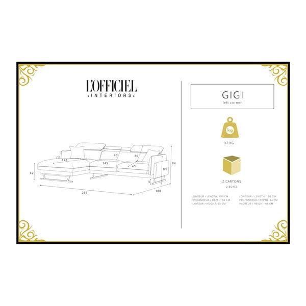 Mentolová rohová pohovka s lenoškou na levé straně L'Officiel Gigi