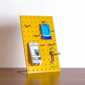 Multifunkční nástěnka Pegboard 30x20 cm, žlutá