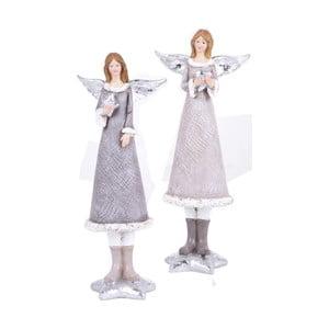 Sada 2 zimních andělíčků Ego Dekor, výška23,5