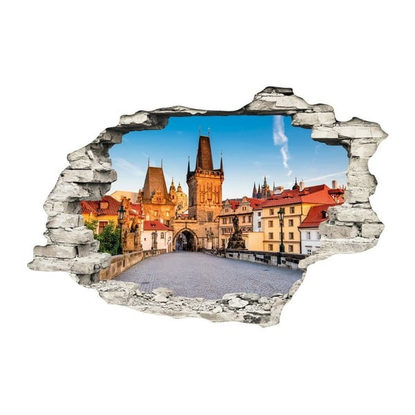 3D samolepka na zeď Ambiance Praha Ranní Karlův most, 90x60cm