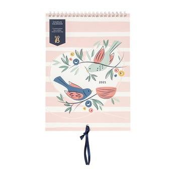 Calendar lunar pentru cupluri Busy B, 13 file, roz imagine