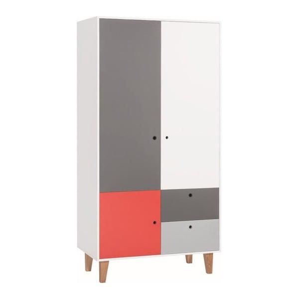Concept fehér-szürke kétajtós ruhásszekrény, piros elemmel - Vox