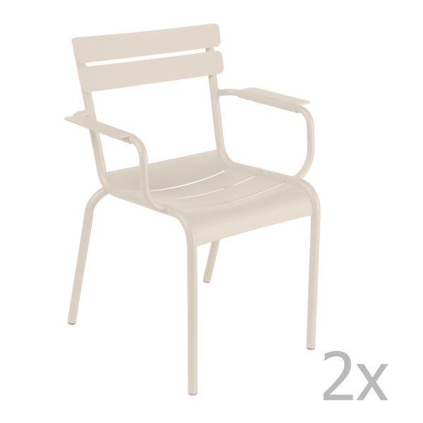 Sada 2 krémových židlí s područkami Fermob Luxembourg