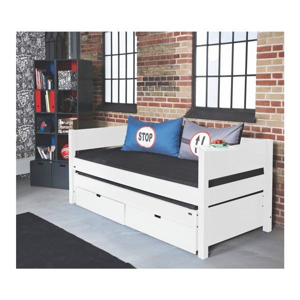 Białe łóżko dziecięce z oparciem bocznym, dostawką i 2 szufladami Manis-h Luna, 90x200 cm