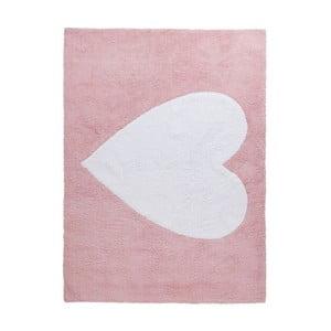 Růžový bavlněný koberec Happy Decor Kids Big Heart, 160x120cm