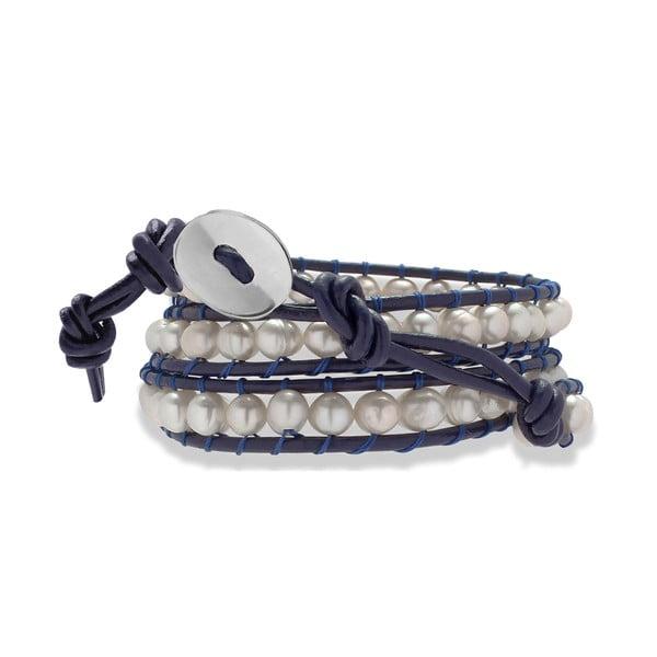 Tmavě modrý kožený náramek s perlami Nova Pearls Copenhagen Néreus