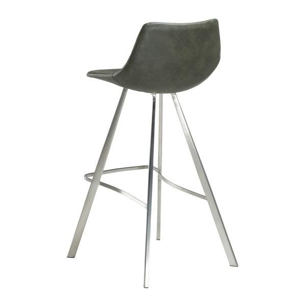 Zelená barová židle s ocelovým podnožím DAN–FORM Pitch