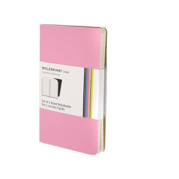 Sada 2 notesů Moleskine Pink, linkované 9x14 cm