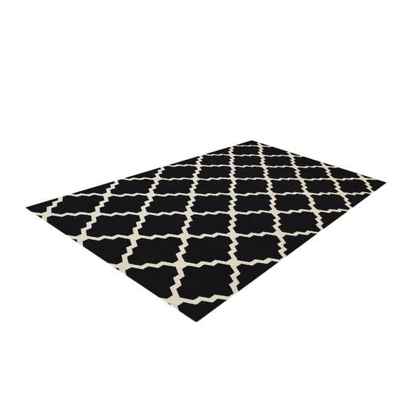 Vlněný koberec Kilim Jasmina Black, 160x230 cm