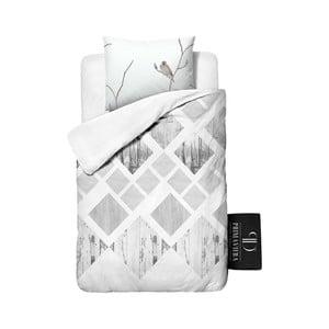 Povlečení z keprové bavlny Dreamhouse Lanscape White, 140x220cm