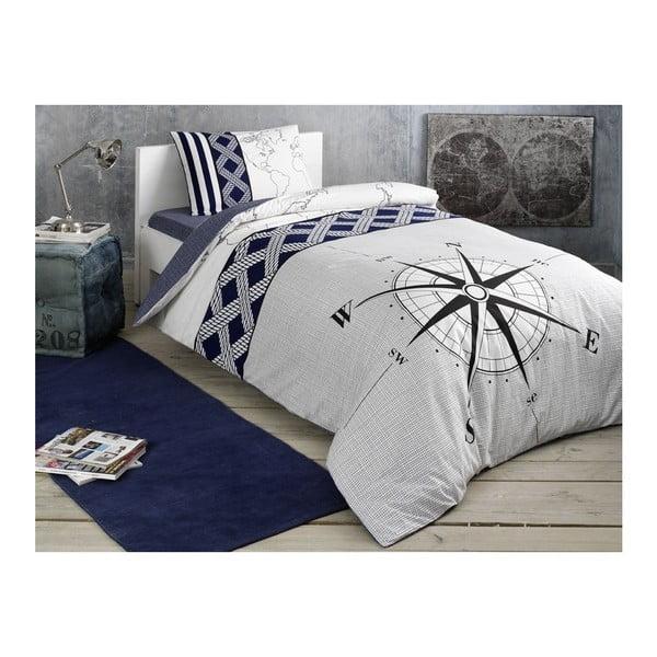 Lenjerie cu cearșaf din bumbac ranforce pentru pat dublu Navi Dark Blue, 160 x 220 cm