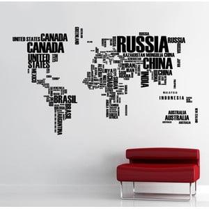 Samolepka na stěnu Mapa světa, 90x120 cm