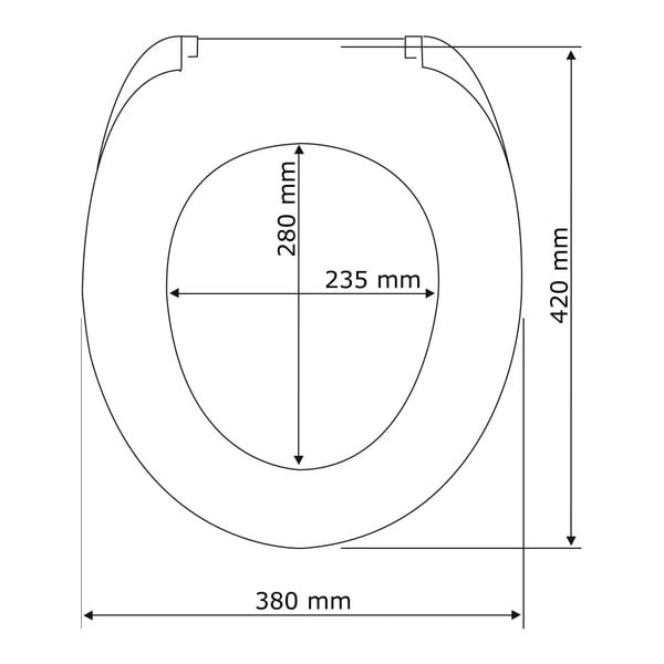 Černé WC sedátko se snadným zavíráním Wenko Armonia, 44,5 x 37 cm