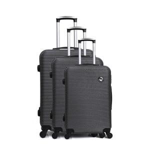 Sada 3 tmavě šedých cestovních kufrů na kolečkách Bluestar Vanity