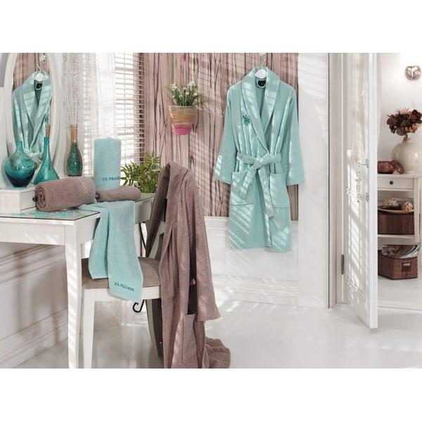 Set halat baie damă, halat baie bărbați și 4 prosoape U.S. Polo Assn., culoare verde mentă