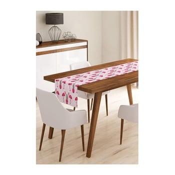 Napron din microfibră pentru masă Minimalist Cushion Covers Pink Flamengo with Pineapple, 45x145cm de la Minimalist Cushion Covers