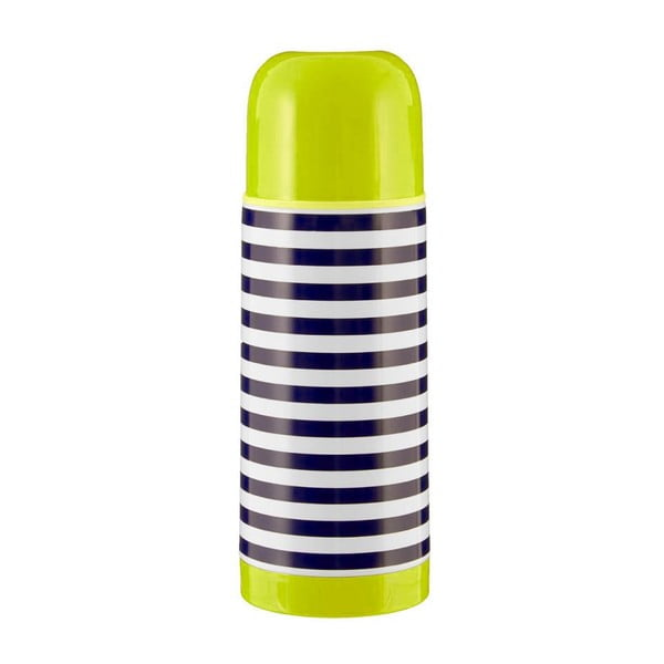 Mimo kék-fehér csíkos termosz zöld tetővel, 350 ml - Premier Housewares