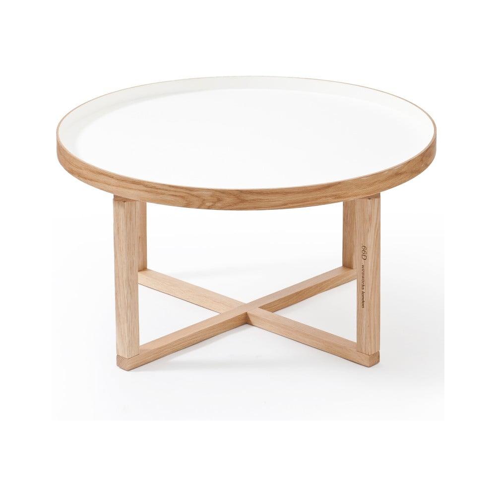 Kulatý stolek s bílou deskou z dubového dřeva Wireworks Round, Ø 66 cm