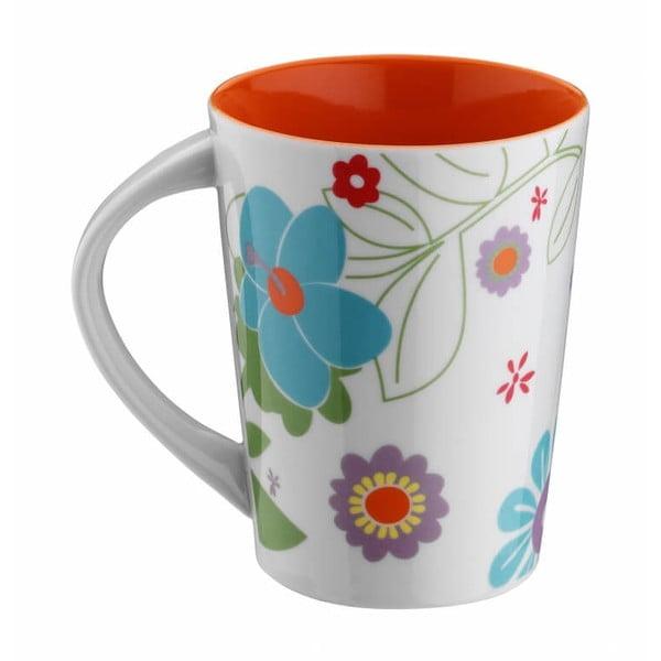 Červený porcelánový hrnek Flowers, 400ml