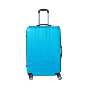 Tyrskysově modrý cestovní kufr na kolečkách s kódovým zámkem SINEQUANONE Rina, 107 l