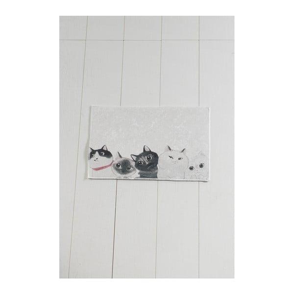 Bielo-sivá kúpeľňová predložka Lismo Cats, 60 × 40 cm