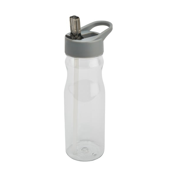 Sticlă cu pai și capac Addis Bottle Clear And Grey, 700 ml, gri