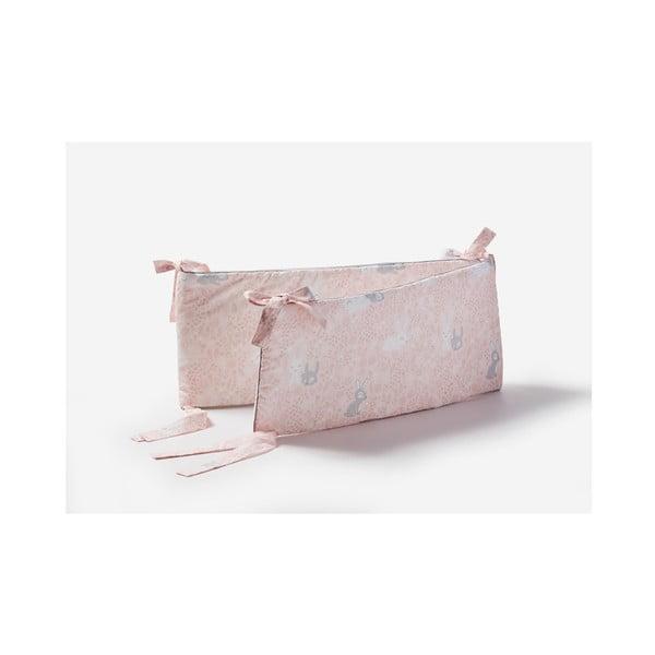 Růžová zábrana do dětské postýlky Pinio Bunnies, 180 x 27 cm