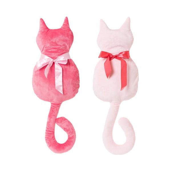 Sada 2 růžových polštářků ve tvaru kočky Unimasa,50x27cm