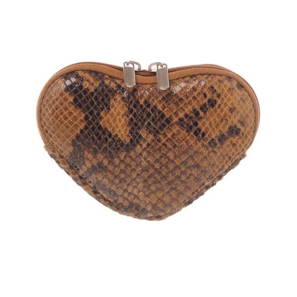 Kožená kapsička na mince Heart Brown