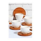 Sada 6 bílých porcelánových šálků s bambusovým podšálkem Kutahya, 80 ml