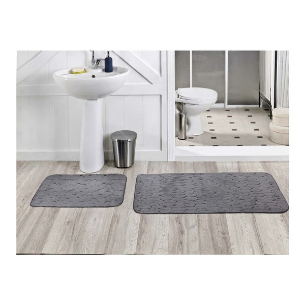Sada 2 koupelnových koberečků Milas Gri, 50x60 cm + 60x100 cm