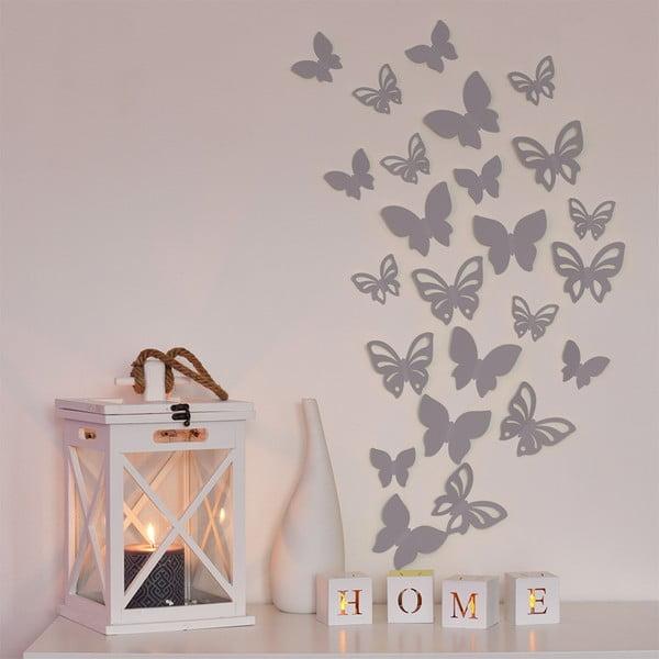 Sada 3D motýlků - stříbrná,  24 ks