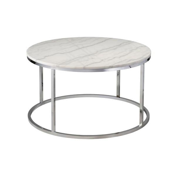Bílý mramorový konferenční stolek s chromovaným podnožím RGE Accent, ⌀85cm
