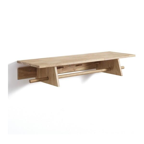 Drewniana półka ścienna z wieszakami Tomasucci Rustico, 90x30x15,5 cm