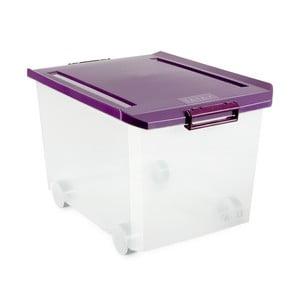 Průhledný úložný box na kolečkách s fialovým víkem Ta-Tay Storage Box, 60 l