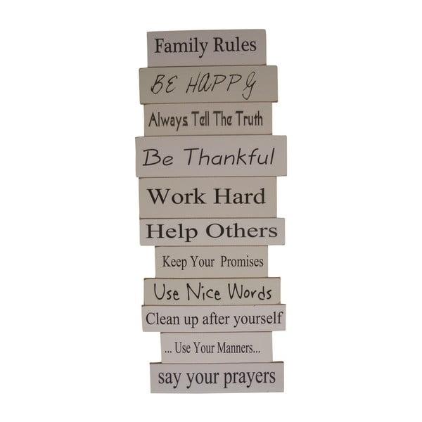 Závěsná cedule Keep Family Rules, 80x33 cm