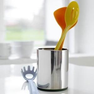 Nerezový držák na kuchyňské nástroje se zeleným detailem Steel Function Roma