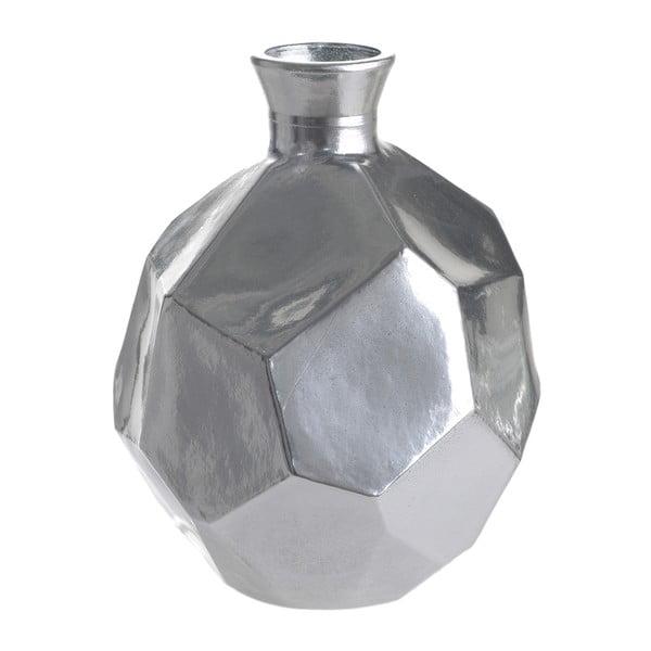 Skleněná váza Polygon, 18 cm, stříbrná