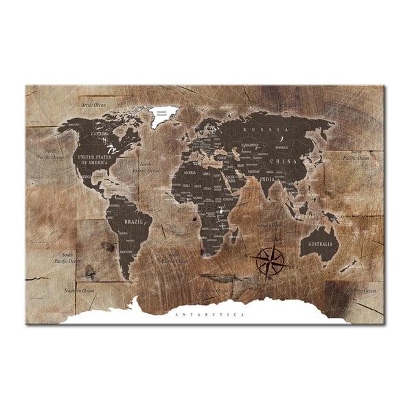 Nástenka s mapou sveta Bimago Wooden Mosaic 120×80cm