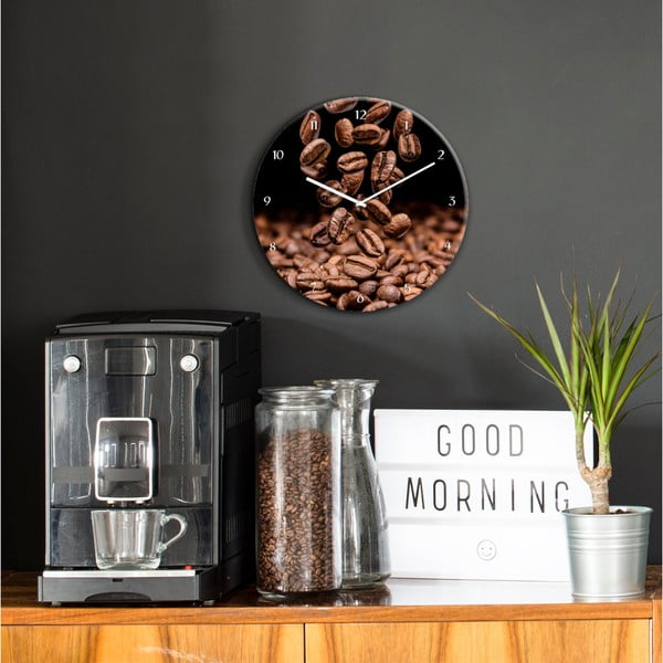 Nástěnné hodiny Styler Glassclock Coffee Seeds, ⌀ 30 cm