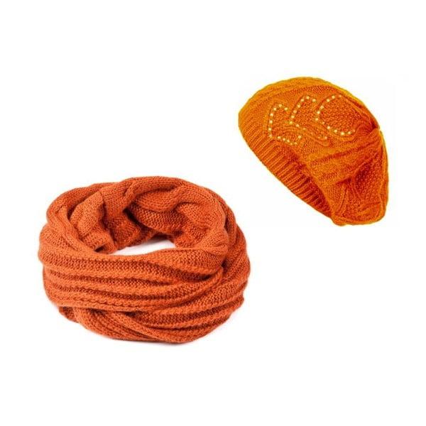 Oranžová čepice se šálou Lavaii Winter